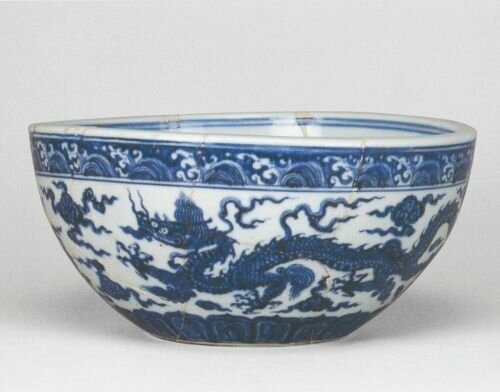 Blue and white bowl excavated in Zhushan, 1983