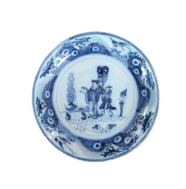 Blue and White Chinoiserie Charger, Delft, circa 1685