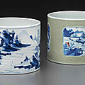 Two blue and white brush pots, kangxi period (1662-1722)