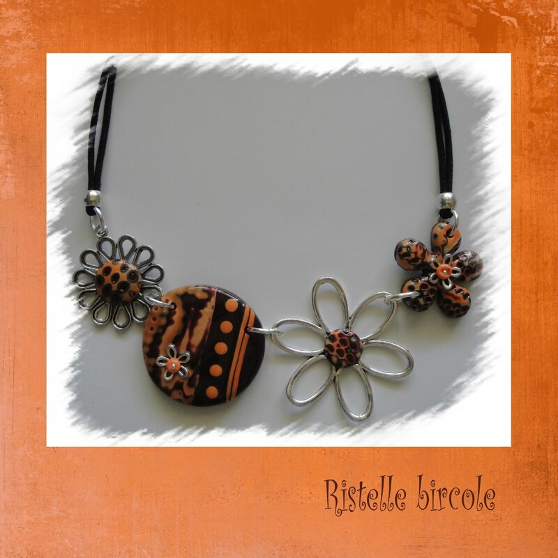 collier marron et orange 2