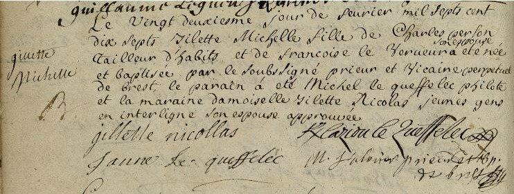 1717 Michel Le Queffelec de Kerlaziou parrain à Brest Les Sept Saints