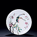 A famille-rose peach-blossom and bird dish, yongzheng period, 1723-1735