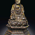 A miniature gilt-bronze figure of shakyamuni buddha, ming dynasty, hongwu bingzi cyclical year, corresponding to 1371, and of th