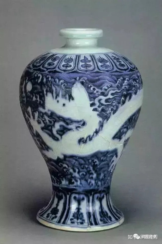 A blue and white reserve-decorated meiping, Yongle period
