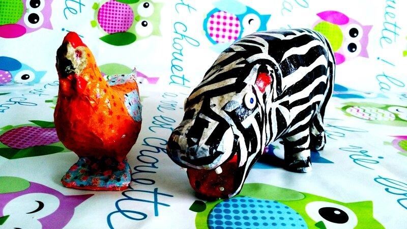 Hippo et Paulette avec chouettes en fond