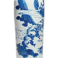A blue and white 'figural' sleeve vase, transitional period, circa 1640-1650