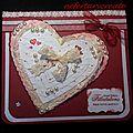 Carte mariage coeur dentelle et perles
