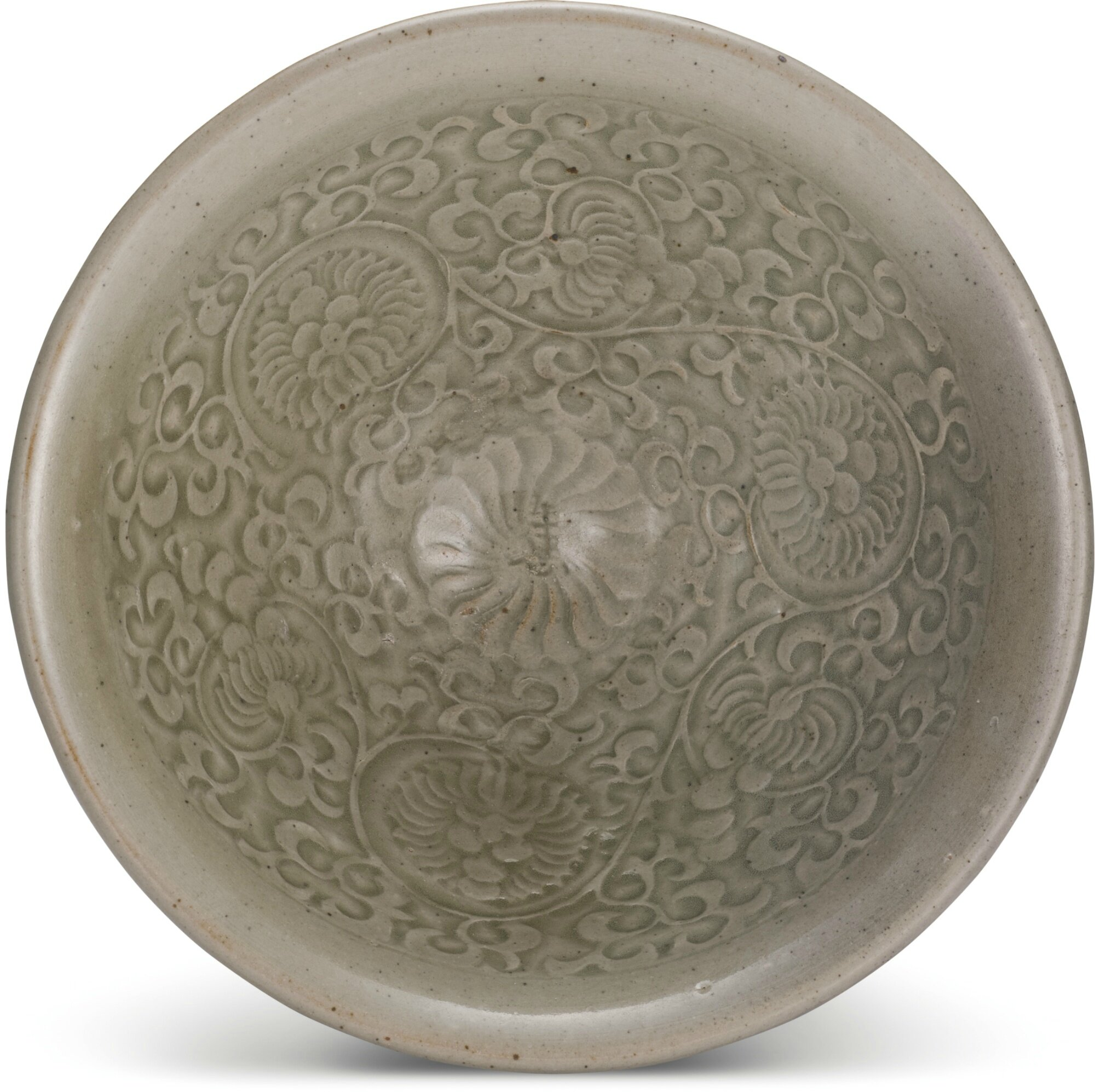 A rare inscribed 'Yaozhou' 'floral' bowl, Northern Song dynasty (960-1127)