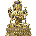 A rare gilt-copper alloy figure of manjusri, tibet, 15th century