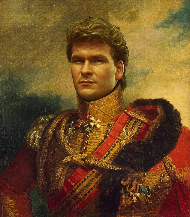 Patrick Swayze, Military Portrait Digital Art works from Replace Face Project by Steve Payne _ Artists and Artlovers