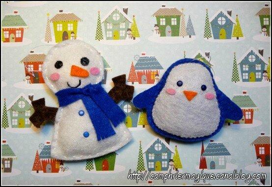 bonhomme de neige et pingouin