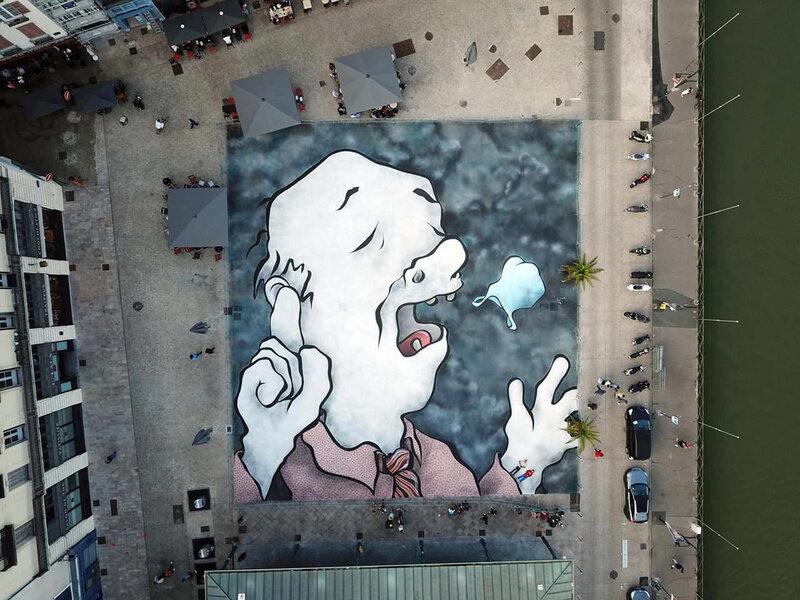 Bayonne, Festival Street art Points de vue 2019, fresque ELLA PITR, carreau des halles