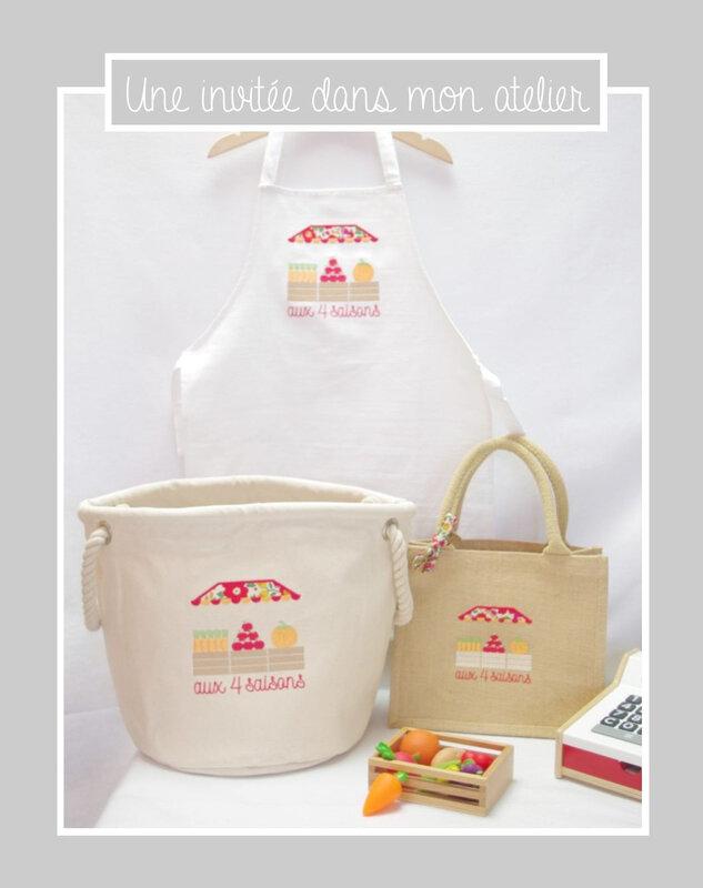 coffret-cadeau-marchande-tablier-cabas-panier de rangement-panier à jouets-Liberty-betsy grenadine