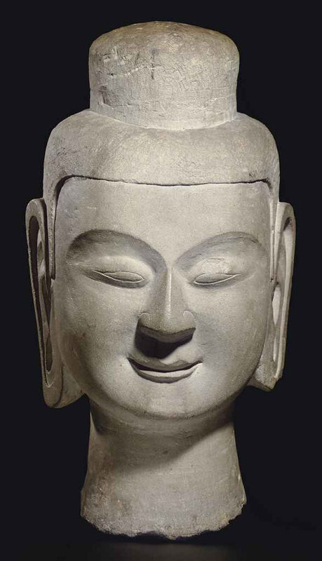 A rare large stone head of Buddha, Northern Wei dynasty, 6th century BC