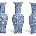 A set of three exceptional and large blue and white 'longevity' vases, qing dynasty, kangxi period (1662-1722)
