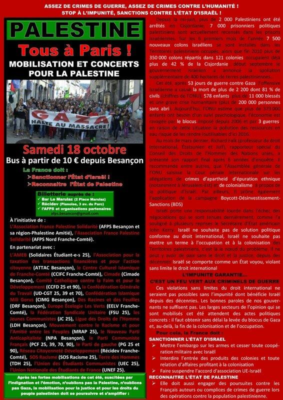 Appel à rassemblement Paris 18 10 14
