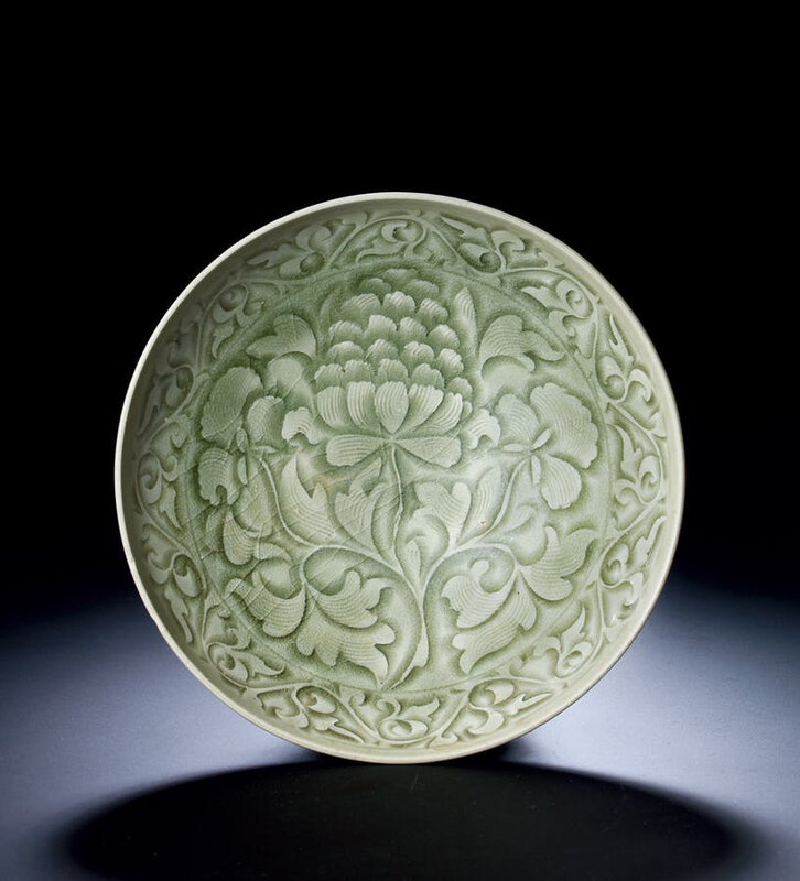 A Yaozhou Carved 'Peony' Dish, Northern Song Dynasty, 10th-12th Century