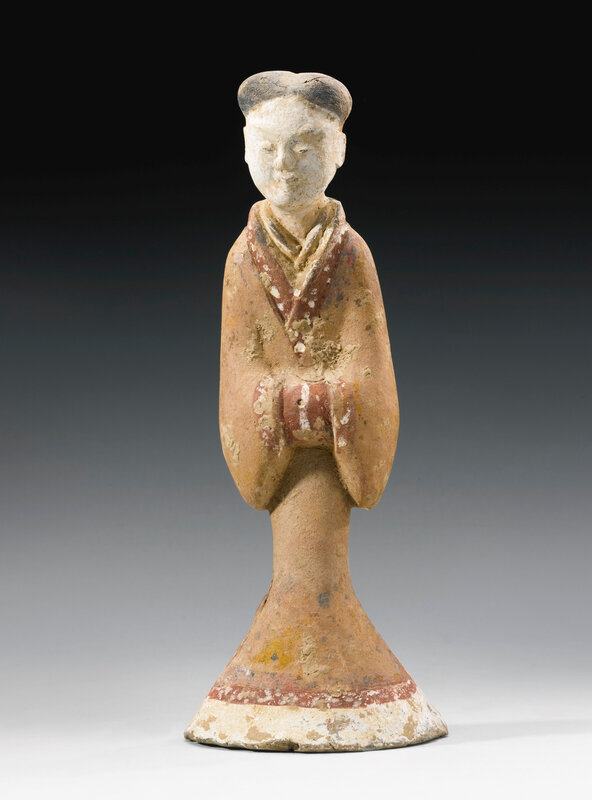 A painted gray pottery figure of a female attendant, han dynasty