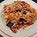 Pâtes au coulis de poivron et pancetta