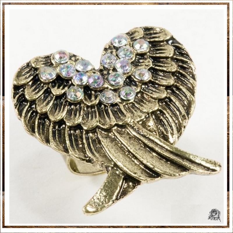 Bague Style Vintage Ailes D'ange Strass Couleur Crystal Métal Couleur Bronze Ajustable