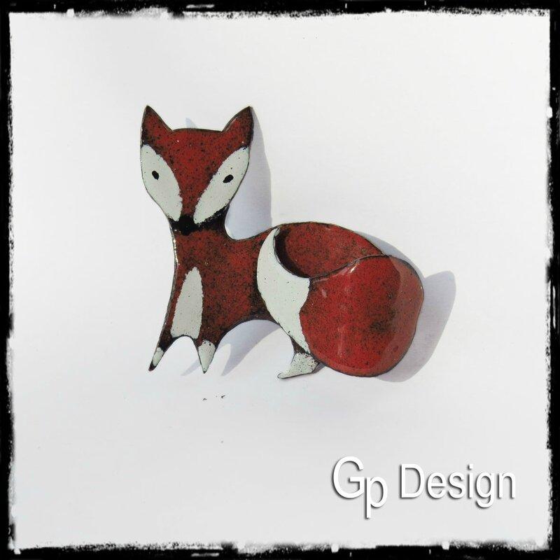 Broche renard en émaux sur cuivre entièrment fait main ex2