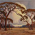 Pierneef_1928_A_Summer_Afternoon,_Bushveldbrousse sud africaine 1928 par jacobus hendrik pierneef