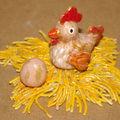 poule et œufs en pâte à sel + une petite lecon de choses .......