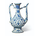 A blue and white lotus ewer, late ming dynasty, 16th-17th century