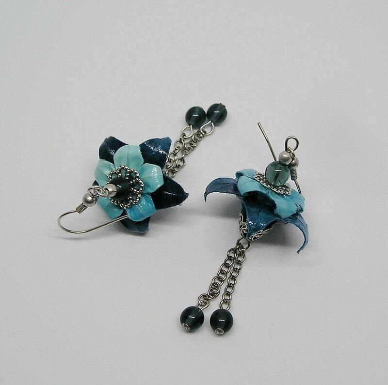 Boucles d'oreilles origami Aquilegia bleu 2