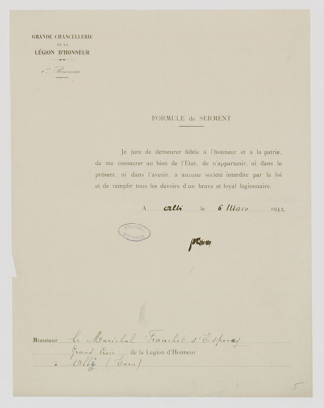 1942 03 06 serment Franchet