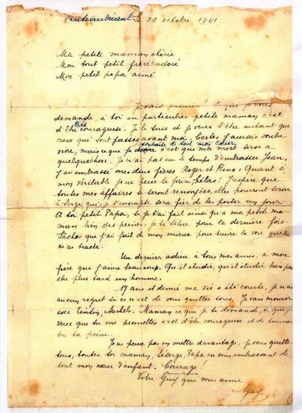 guy moquet lettre Dernière lettre de Guy Môquet (22 octobre 1941)   Profs d'Histoire  guy moquet lettre