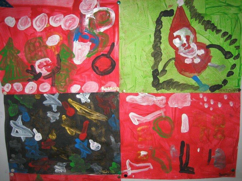 Peintures libres de Noël sur fond à la gouache (MS)