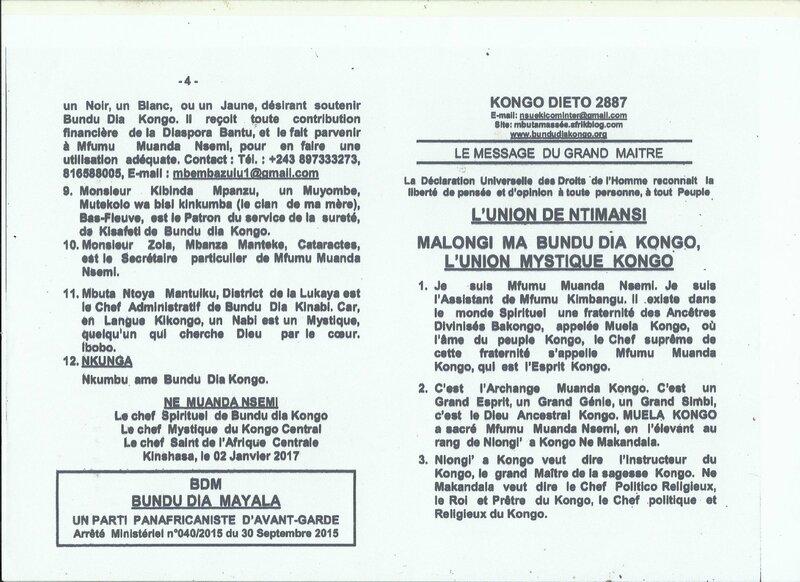 MALONGI MA BUNDU DIA KONGO L'UNION MYSTIQUE KONGO a