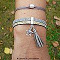 Bracelet Bicolore cuir (argent perlé et or) - porté