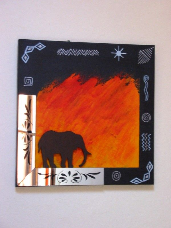 cadre noir éléphant 40/40 cms