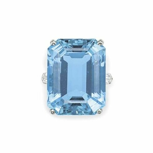 An Acquamarine and diamond ring by Cartier