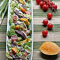 Salade au magret séché et à la mangue, vinaigrette au combava