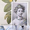 La belle Indigène - gravure brodée- plumée - création marimerveille