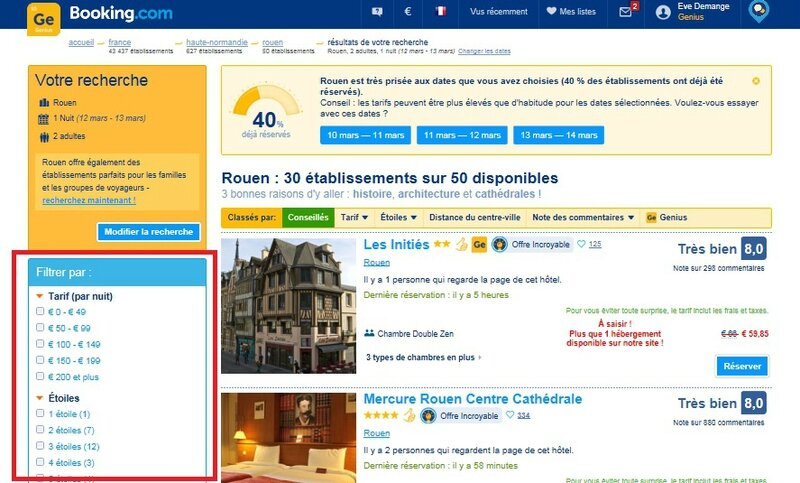 Exemple de filtre sur le site Booking
