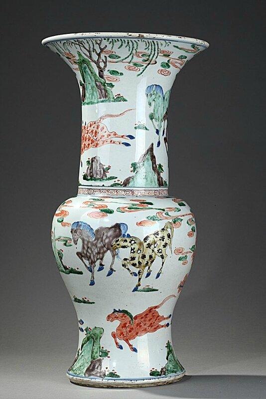 Chinese 'famille verte' porcelain yenyen shaped vase, Kangxi period (1662-1722)