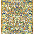 An important safavid silk and metal-thread 'polonaise' carpet, isfahan, central persia, first quarter 17th century