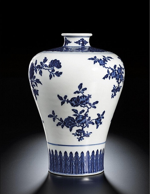 A fine blue and white meiping, Seal mark and period of Qianlong