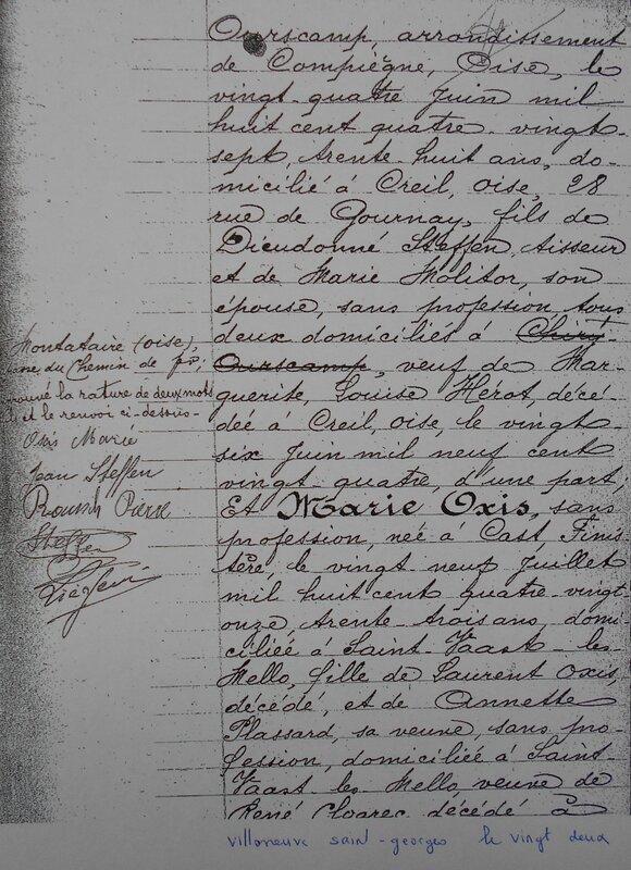 1935 le 11 juillet M Marie Oxis et Jean Steffen à St Vaast les Mello_2