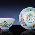 A fine pair of doucai 'sanduo' winecups, yongzheng six-character marks within double-circles and of the period (1723-1735)