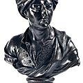 Buste présumé du peintre rigaud en plomb. début xviiie siècle