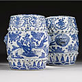 A pair of blue and white garden seats, ming dynasty, wanli period (1573-1619)