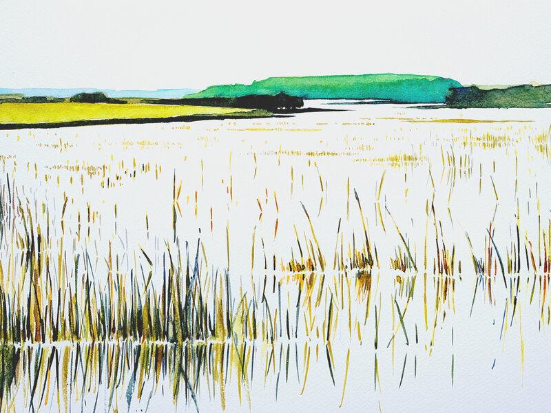reflets 4 golfe du morbihan, aquarelle, 40 x 30 cm, novembre 2019