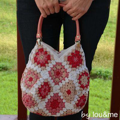 sac crochet rose lou&me