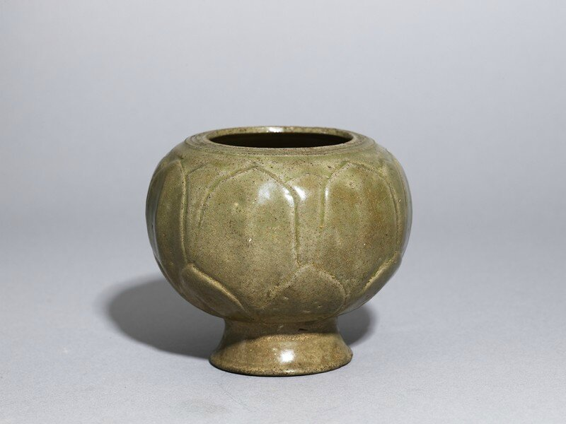 Greenware globular jar with lotus petals, Yue kiln-sites, late 8th century - early 9th century AD , Tang Dynasty (AD 618 - 907)