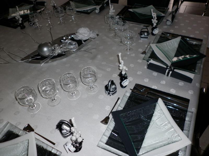 Deco de table noel noir et argent